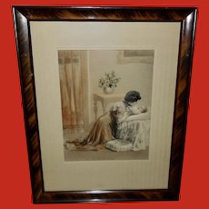 Embossed Hand Painted Print of Mother and Baby