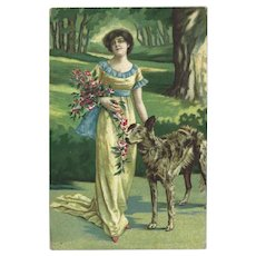 Chromolithograph Italian Postcard of Lady with Dog