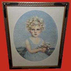 Braun et Cie Paris Vintage Print of Young Girl Blonde Hair