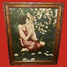 Bertram Basabe Vintage Print of Mother Holding Child