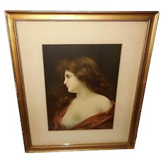 Angelo Asti Vintage Print of Lovely Lady Named Beatrice