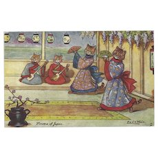 Louis Wain 1907 Raphael Tuck Cats Postcard Flowers of Japan