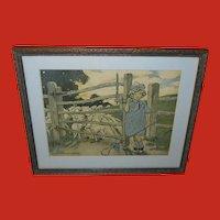 Jessie Willcox Smith Vintage Print of Little Bo Peep and Sheep