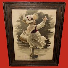M. Greiner Embossed Hand Colored Vintage Print of Dutch Girl