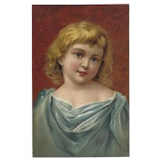 Chromolithograph Postcard of Young Blonde Girl
