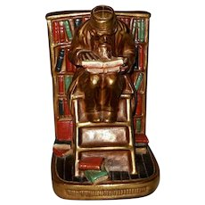Single Polychrome Bookend of Man Reading