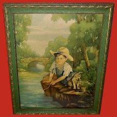 Margaret Lougheed Vintage Print of Boy and Dog Fishing