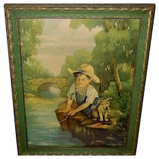 Margaret Lougheed Vintage Print of Boy and Dog Fishing