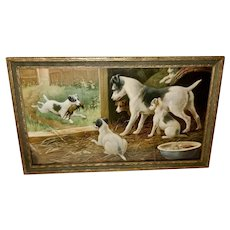 Chromolithograph of Rat Terrier Dog and Puppies