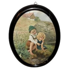 Vintage Print of Boy and Girl by Water