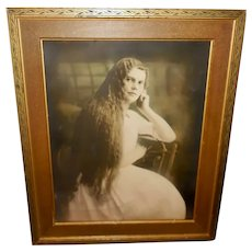 Large Vintage Sepia Photo Print of Lady with Long Wavy Hair