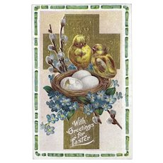 Embossed Easter Postcard of Two Chicks on a Nest