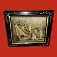 Campbell Art Embossed Print by Starkey of Native American Indians Eastlake Frame