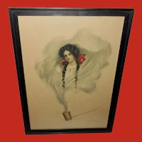 Large 1908 Chromolithograph by Pearle Eugenia Fidler of His First Love