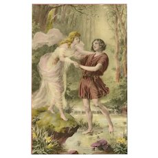 Vintage French Luxographie Postcard of Romantic Couple