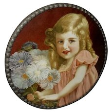 Vintage German Flue Cover of Blonde Girl with Ringlets and Flowers