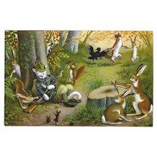 Max Kunzli Glossy Dressed Cat Postcard of Hunter