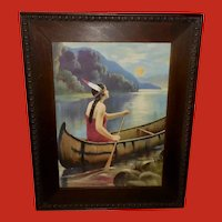 Native American Indian Maiden in Canoe - Maid of the Lake