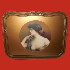 Delphin Enjolras Chromolithograph of Beautiful Brunette in Barbola Style Frame