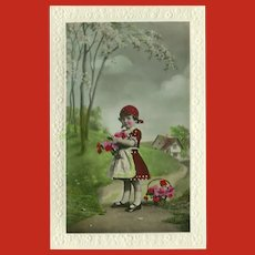 Glossy Embellished Italian Fotocelere Postcard of Young Girl in Red