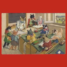 Max Kunzli Dressed Cat Postcard of Sewing Class