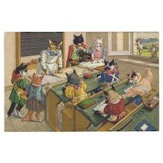 Max Kunzli Dressed Cat Postcard of Sewing Class