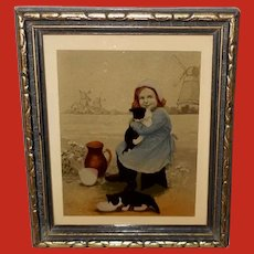 Richards Company Small Photo Engraving of Dutch Girl with Two Cats