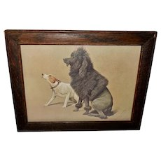Fannie Moody Vintage Print of Poodle and Terrier Dogs