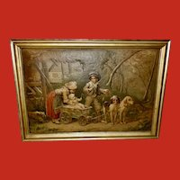 Large Embossed Print of Children and Dogs