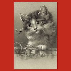 Embossed Undivided Postcard of Cat and Insect