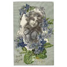 Undivided Embossed Glitter Romantic 1907 Postcard