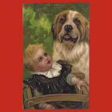 Embossed 1908 PFB Postcard of Baby and Saint Bernard Dog