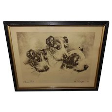 L. Singer Vintage Etching Print of Three Dogs