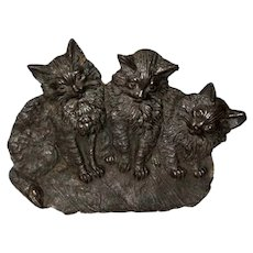 Bradley and Hubbard Cast Metal Black Three Cat Tray