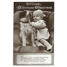 Vintage 1931 Glossy Photo Birthday Postcard of Baby and Dog