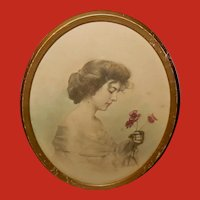 Tinted Photo Print of Lovely Lady with Flowers