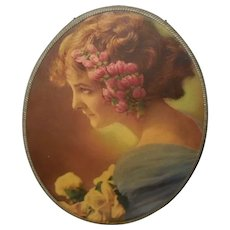 Vintage Flue Cover of Profile of Lady with Flowers