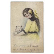 Gibson Art Co 1914 Postcard of Pretty Girl with Cat