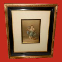 George Baxter Chromolithograph of Young Girl with Bird Shadow Box Frame