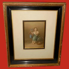 George Baxter Chromolithograph of Young Girl with Bird