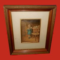 George Baxter Chromolithograph of Unhappy Girl in Shadow Box Frame