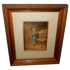 Shadow Box Frame with George Baxter Chromolithograph of Unhappy Girl