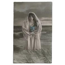 Vintage Glossy German Tinted Photo Postcard Of Lovely Lady in Water