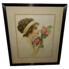 B. Tichtman Vintage Print of Lady with Roses