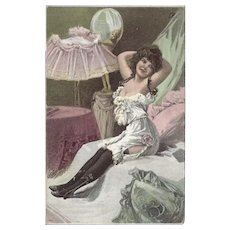 Undivided Postcard of Lovely Lady in Boudoir