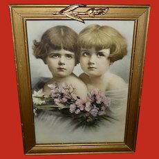 Vintage Print of Two Young Girls Titled Twins