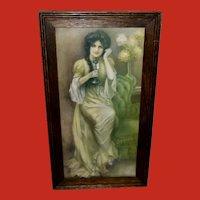 J. Knowles Hare Vintage Print of Lady on Phone