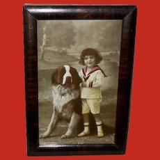 Small Framed Vintage Postcard of Boy with Saint Bernard Dog