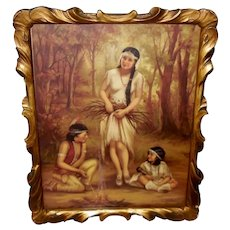 Vintage Adelaide Hiebel Calendar Print of Indian Maiden and Children