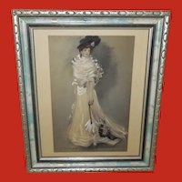C. Allan Gilbert Vintage Tinted Print of Lady with Parasol - 1 of 2
